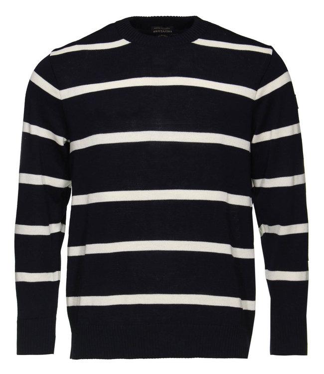 PAUL & SHARK C0P1031 - 573 pullover ronde hals blauw/wit gestreept