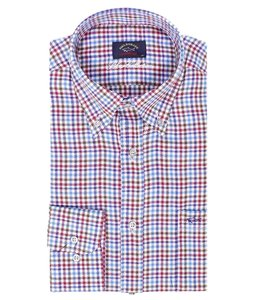 PAUL & SHARK 3109 - 001 overhemd lange mouw wit-rood-blauw