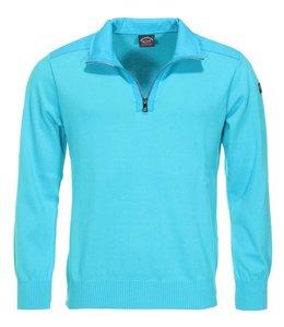 PAUL & SHARK 21411642 - 750 pullover met rits aqua blauw