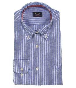 PAUL & SHARK 21413320 - 001 overhemd/mondkapje lange mouw blauw/wit gestreept