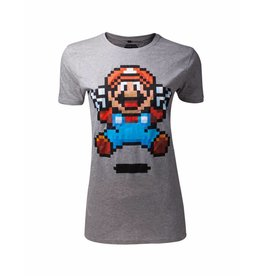 Nintendo Damen T-Shirt Super Mario Jump Pixel Art