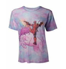 Marvel Women T-Shirt Deadpool on Unicorn