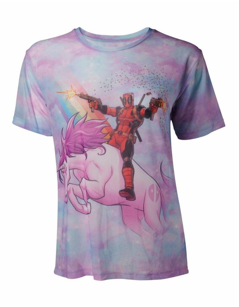 Marvel Damen T-Shirt Deadpool auf Einhorn