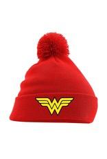 DC Wonder Woman Pom Pom Beanie Logo Rot