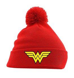 DC Wonder Woman Pom Pom Beanie Logo Red