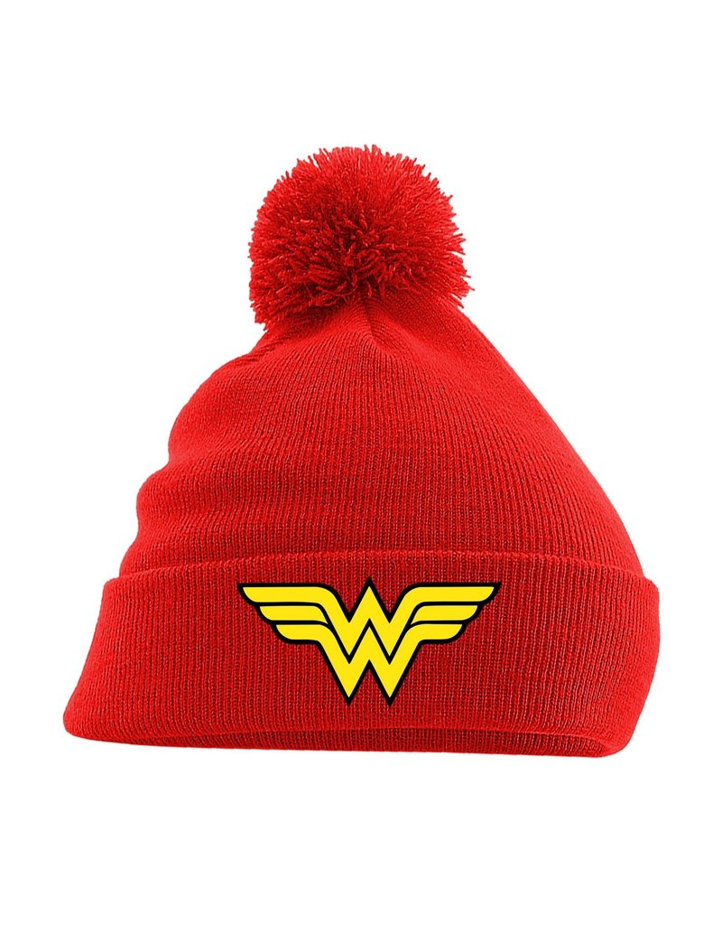 DC Wonder Woman Pom Pom Beanie Logo Red