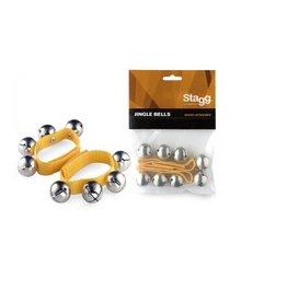 Polsband met (kerst)belletjes (2 stuks) geel