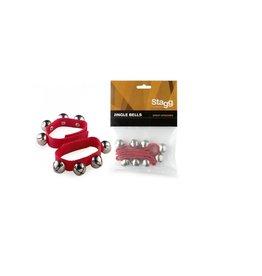 Polsband met (kerst)belletjes (2 stuks) rood