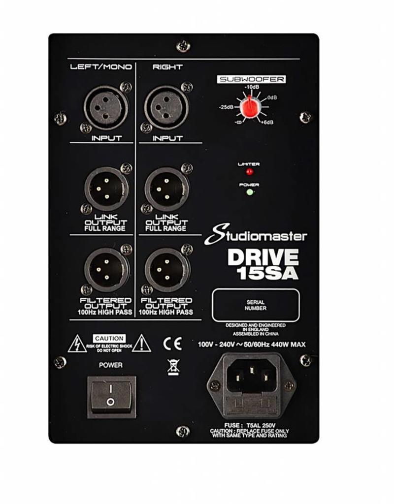 """Studiomaster Studiomaster  15"""" actieve subwoofer 350 watt"""