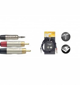 mini-stereojack/jack naar 2 x tulp, 1,5 m, zwart verloopkabel
