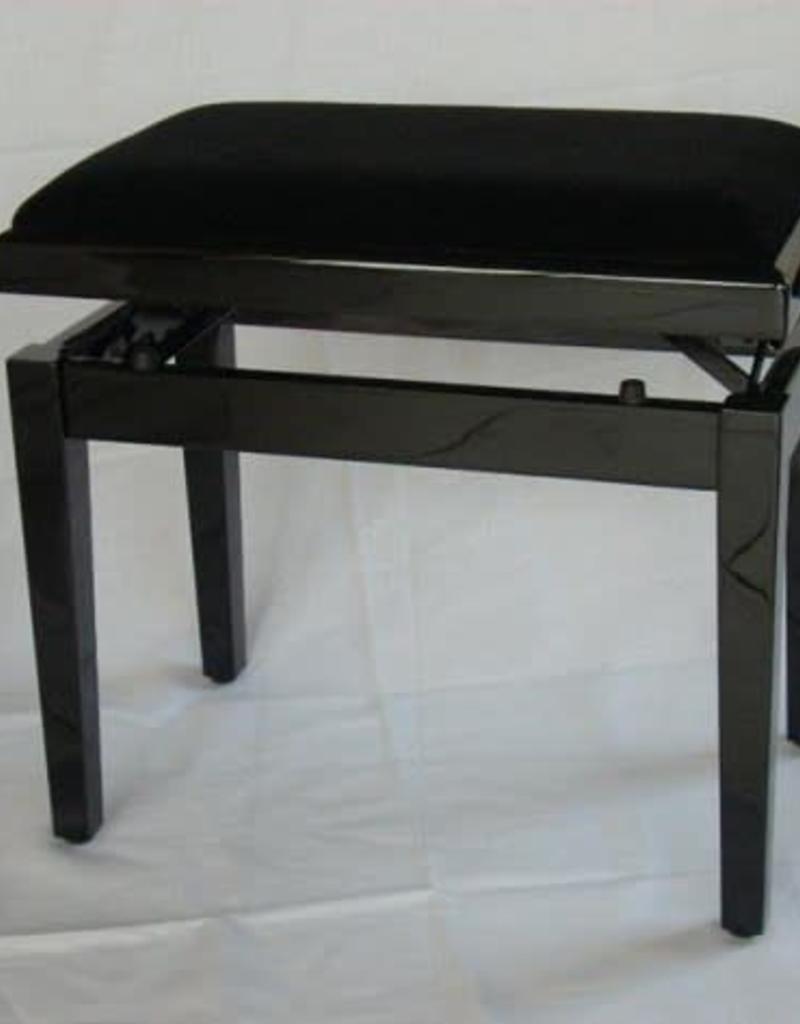 Pianobank  zwart hoogglans met veloers (velvet) zitting