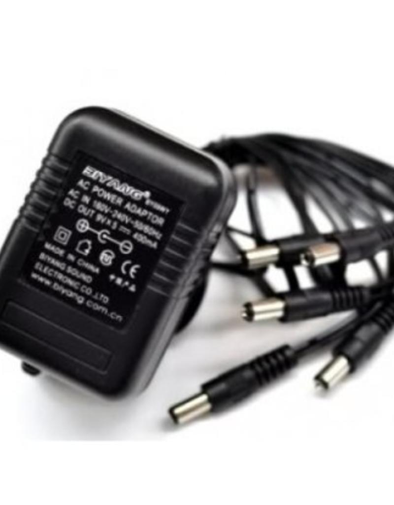 Biyang Biyang 9 Volt adapter 400mA met 5 aansluitingen