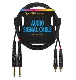 Boston Audio signaalkabel, 2x RCA naar 2x 6.3mm jack mono, 1.5 meter