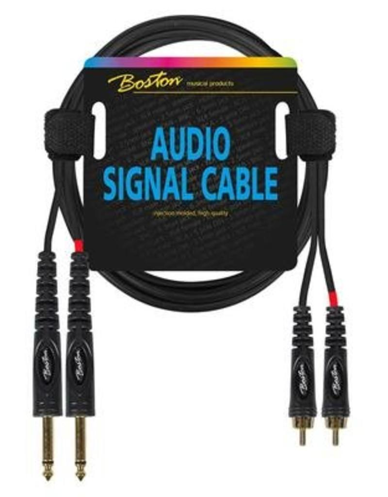Boston Audio signaalkabel, 2x RCA naar 2x 6.3mm jack mono, 1.5 meter