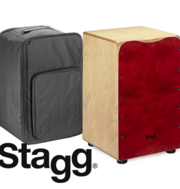Stagg Cajon medium sized red met gevoerde hoes
