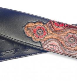 Paisly style strap kunstleer zwart/rood