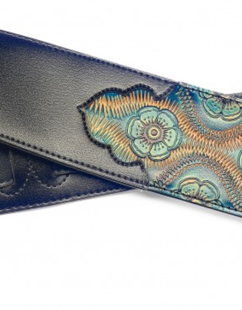 Paisly style strap kunstleer zwart/blauw