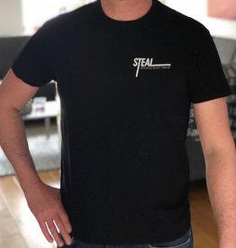 T-shirt STEAL klein logo zwart