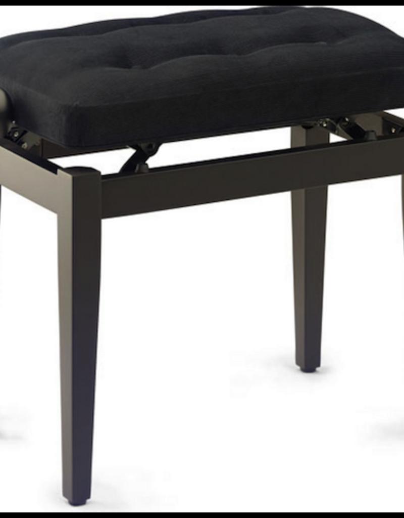 Chesterfield-stijl pianobank, palissanderkleurig, mat, met zwarte kunstleren zitting