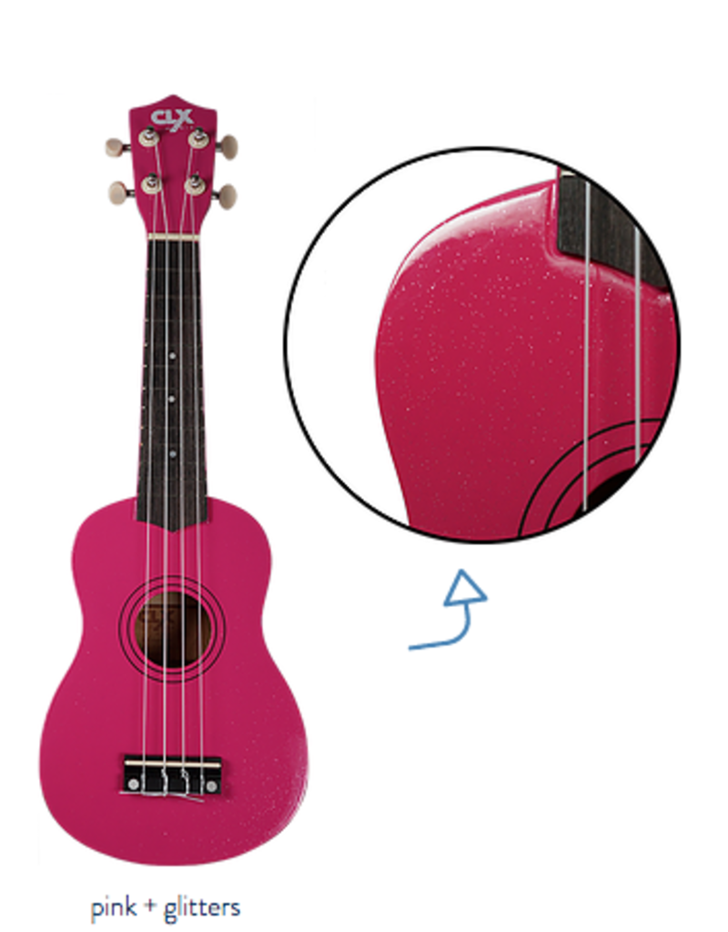 CLX ukulele pink glitter