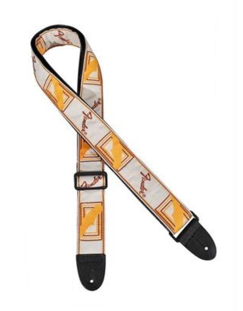 Fender strap wit/bruin/geel