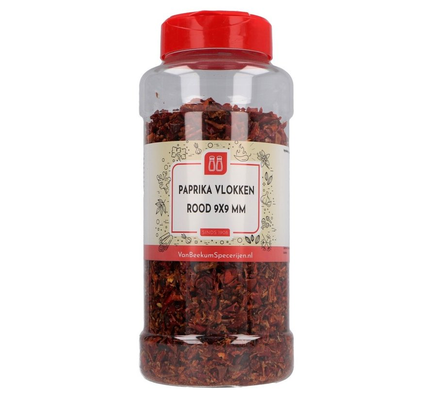 Paprika vlokken rood 9x9 mm