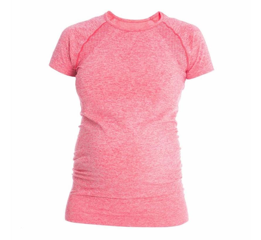 Zwangerschap Sportshirt Korte Mouw - Roze