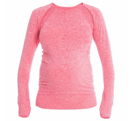 Mom in Balance Active Wear Maternity  Sports Shirt Long Sleeve - Pink