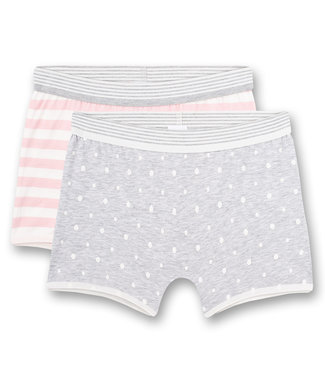 Sanetta Shorts Grey Dots Pinks Striped 2-pack