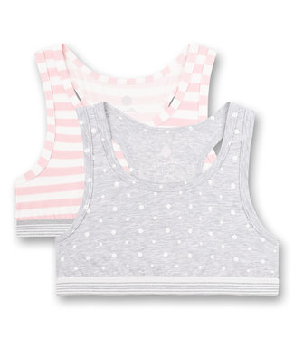 Sanetta Crop top Grey Dots Pink Stripes 2-pack