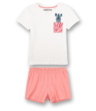 Sanetta Pyjama korte broek Zebra Pink Stripe