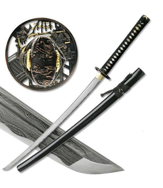 Naginata damascus samurai sword