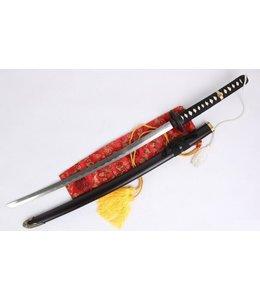 Zwart katana zwaard met witte kwast