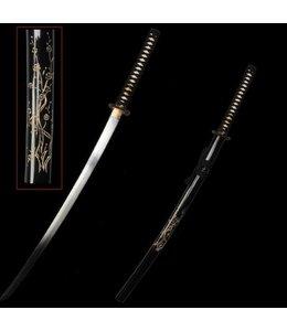 Samurai zwaard met bewerkte saya