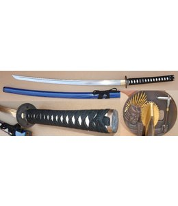 Blauw samurai krijger zwaard