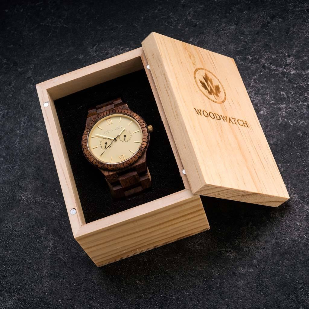 woodwatch män träklocka grand kollektion 47 mm diameter champagne gold akaciaträ