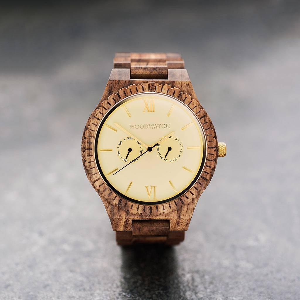 woodwatch mænd træ ur grand kollektionen 47 mm diameter champagne gold akacietræ