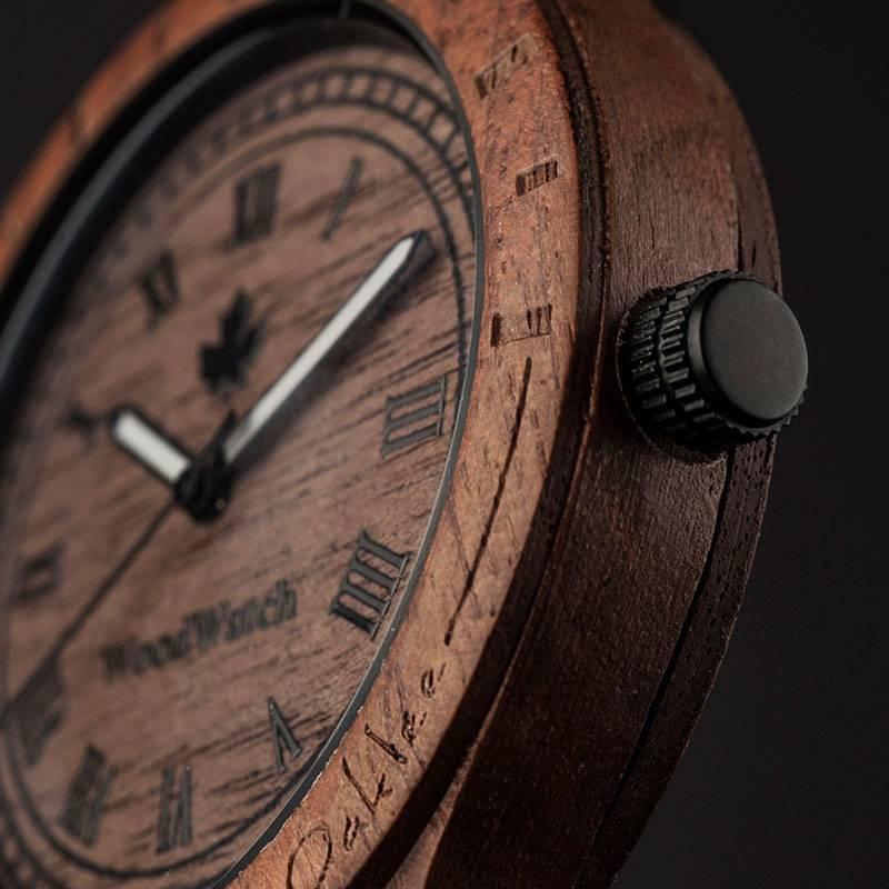woodwatch män träklocka original kollektion 47 mm diameter oaklee valnötsträ
