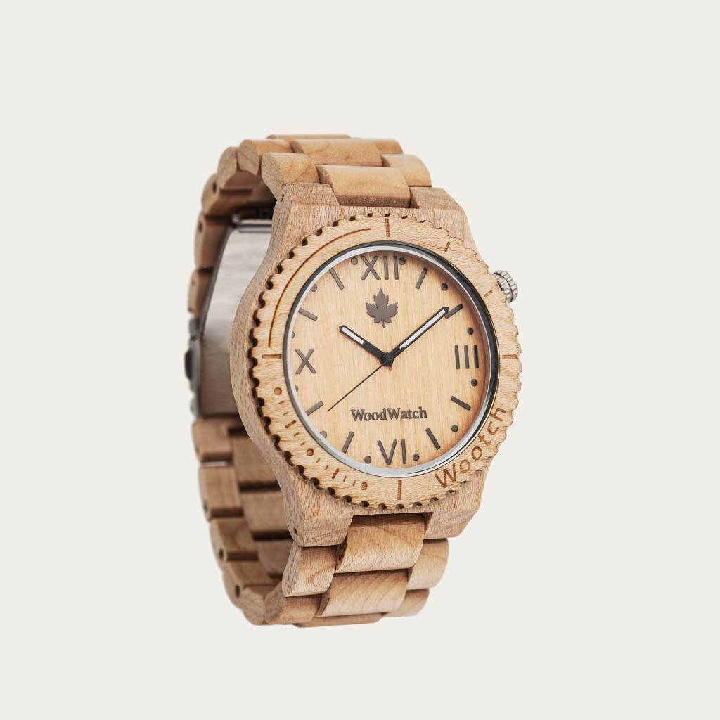 woodwatch män träklocka original kollektion 44 mm diameter wootch maple lönnträ