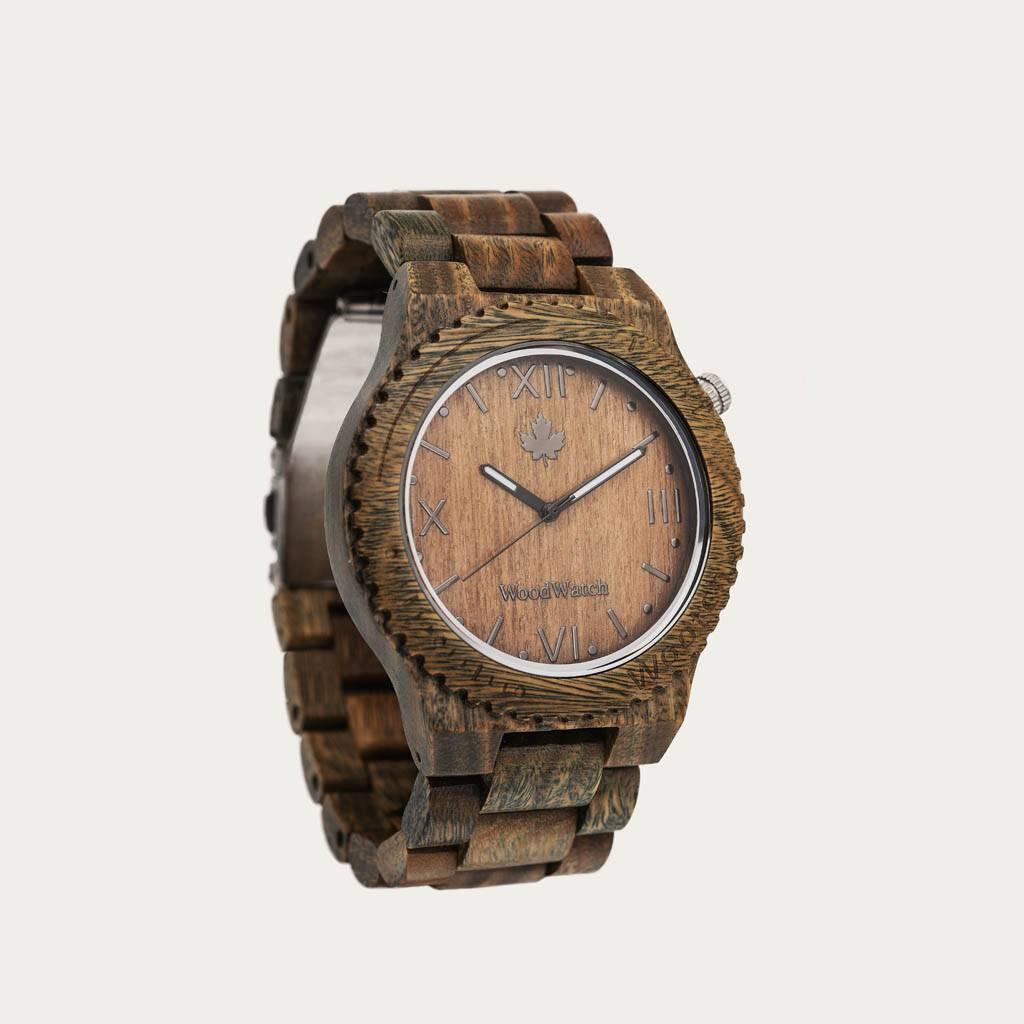 woodwatch mænd træ ur original kollektionen 44 mm diameter wootch sandal grøn sandeltræ