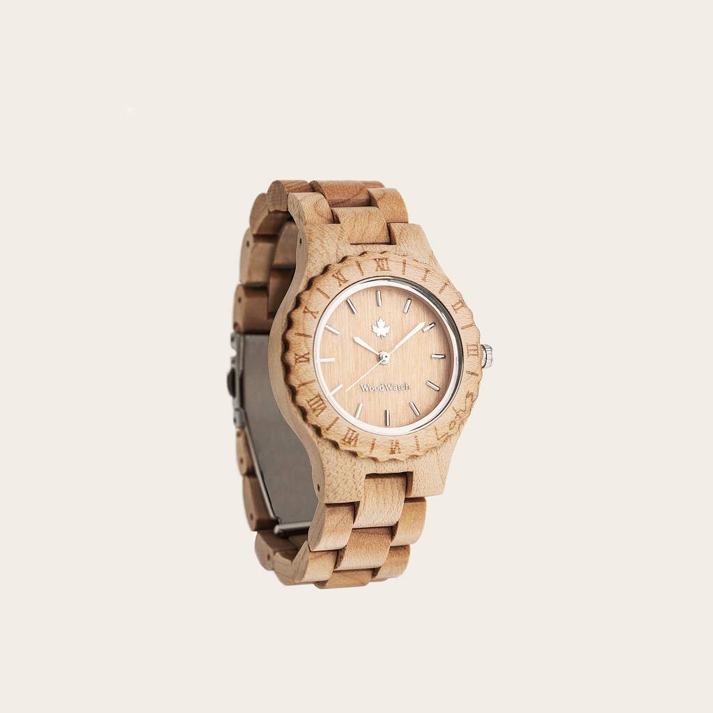 woodwatch kvinnor träklocka original kollektion 34 mm diameter lotus maple lönnträ