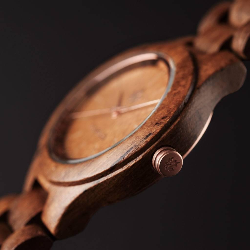 woodwatch kvinnor träklocka core kollektion 36 mm diameter teak rosegold teak trä