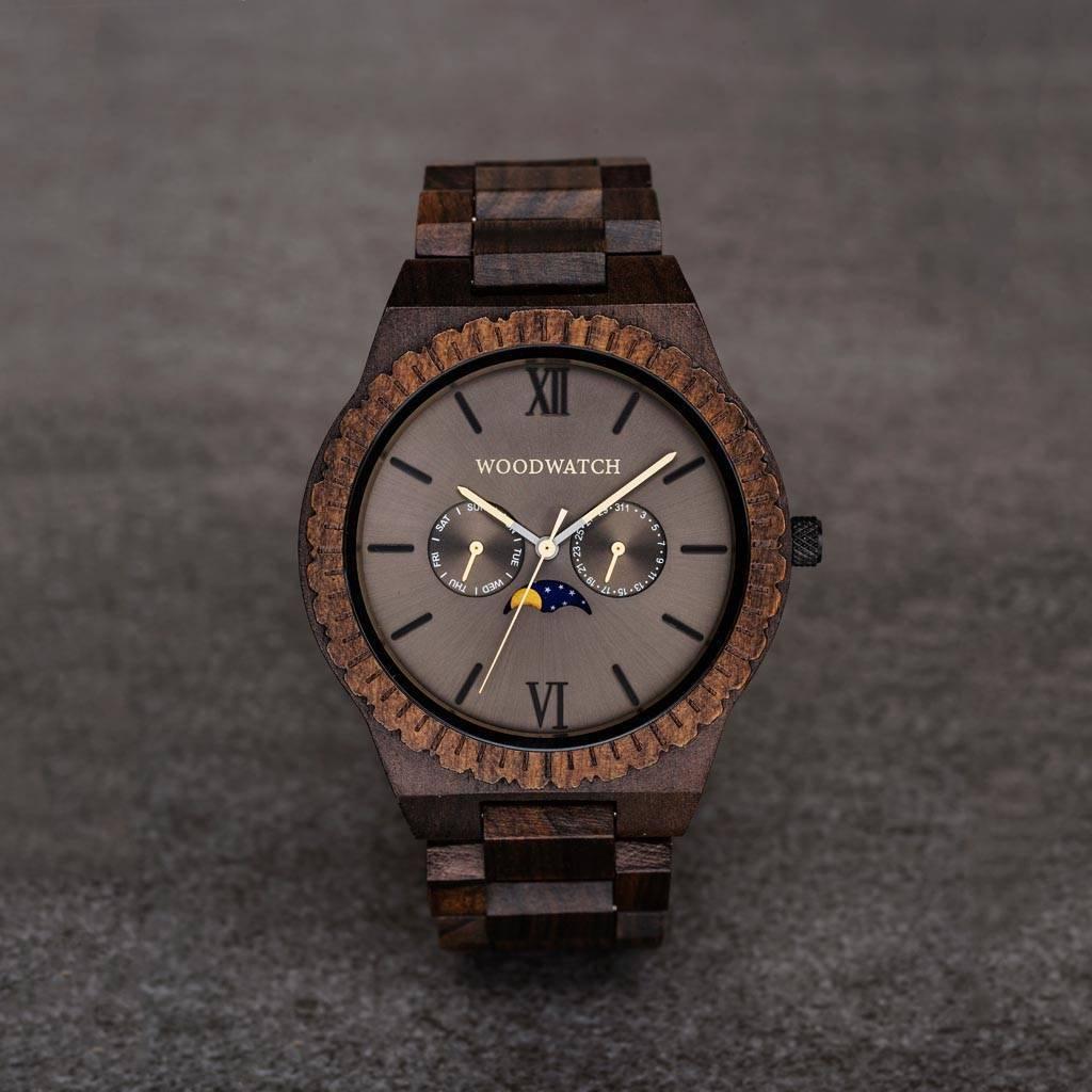 woodwatch mænd træ ur grand kollektionen 47 mm diameter lunar eclipse sort sandeltræ