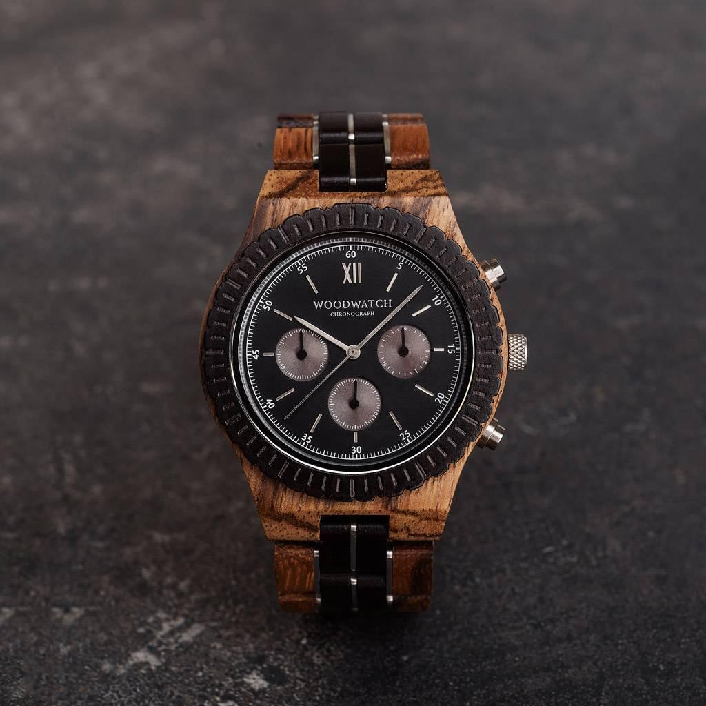 woodwatch mænd træ ur grand kollektionen 45 mm diameter chronograph sort sandal zebratræ