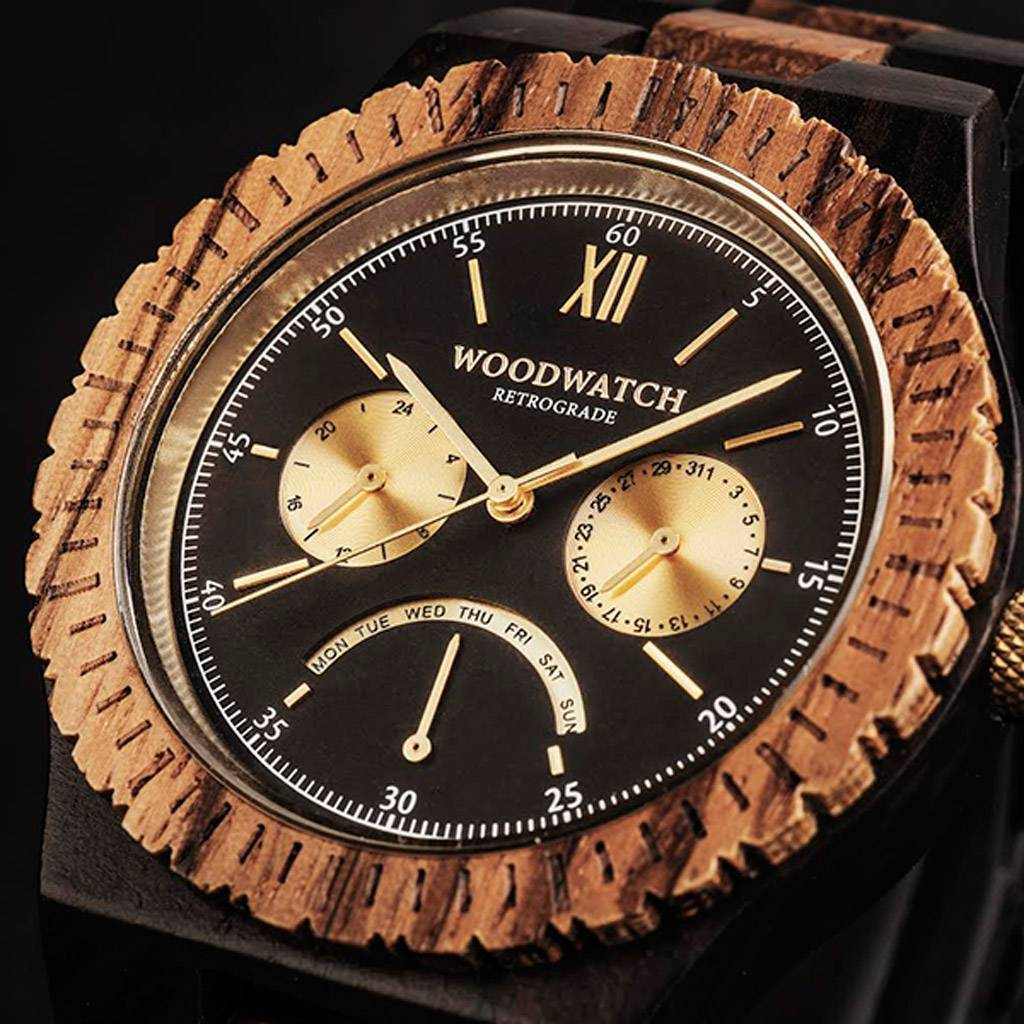 woodwatch mænd træ ur grand kollektionen 45 mm diameter retrograde sort sandal zebratræ