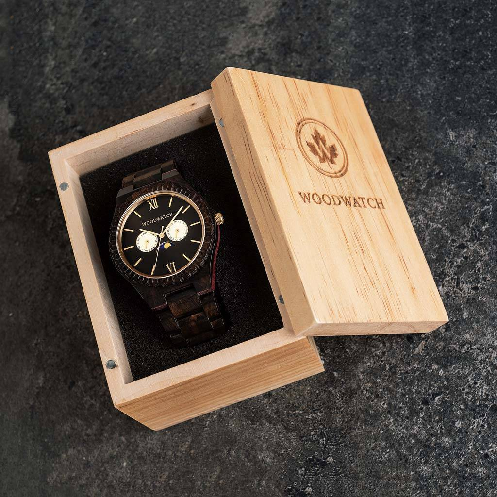 woodwatch mænd træ ur grand kollektionen 47 mm diameter night gaze ibenholt træ