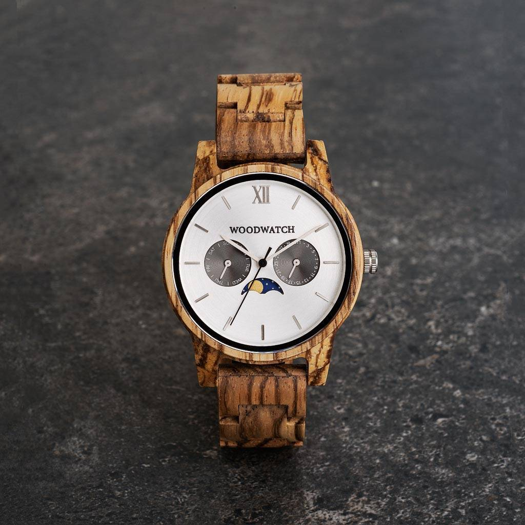 woodwatch män träklocka classic kollektion 40 mm diameter camo zebraträ