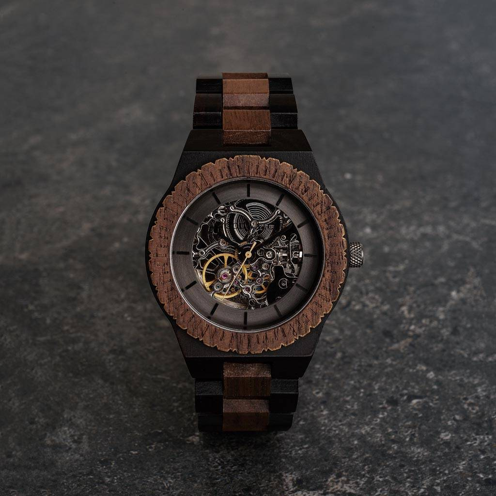 woodwatch män träklocka automatic kollektion 42 mm diameter navigator valnötsträ ebenholts trä