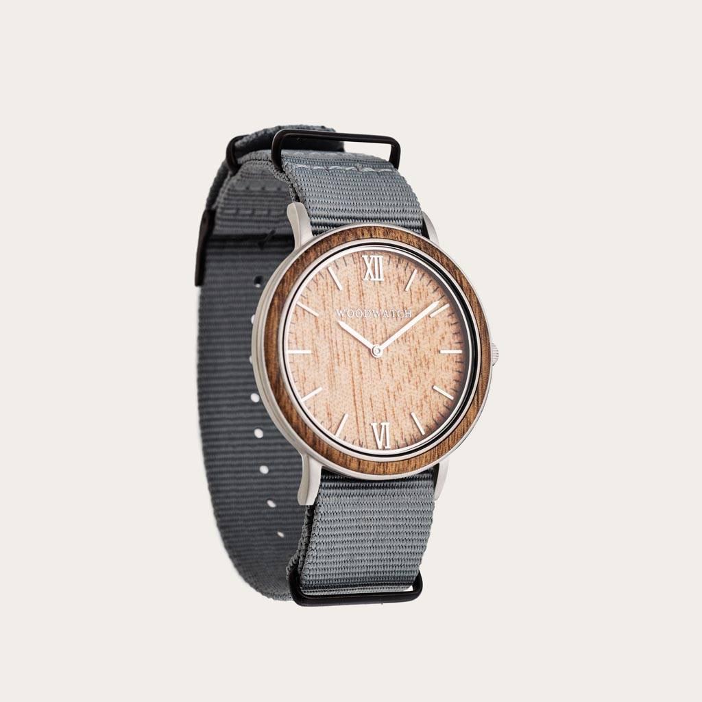woodwatch män träklocka minimal kollektion 40 mm diameter acacia graphite akaciaträ grått nylonband
