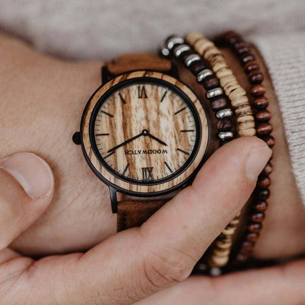 woodwatch mænd træ ur minimal kollektionen 40 mm diameter striped zebra pecan zebratræ brunt læderbånd